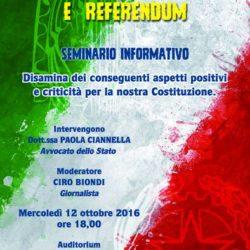 A Pozzuoli, il 12 ottobre seminario su riforma costituzionale e il referendum