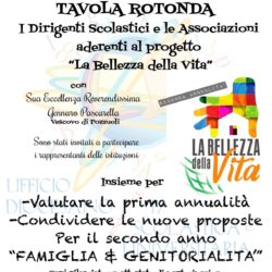 Lunedì 18 dicembre a Pozzuoli, tavola rotonda con il vescovo e dirigenti scolastici per avviare il II anno del Progetto La Bellezza della Vita
