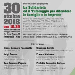 """Convegno su """"Solidarietà e tutoraggio per difendere famiglie e imprese"""", martedì 30 ottobre a Pozzuoli"""